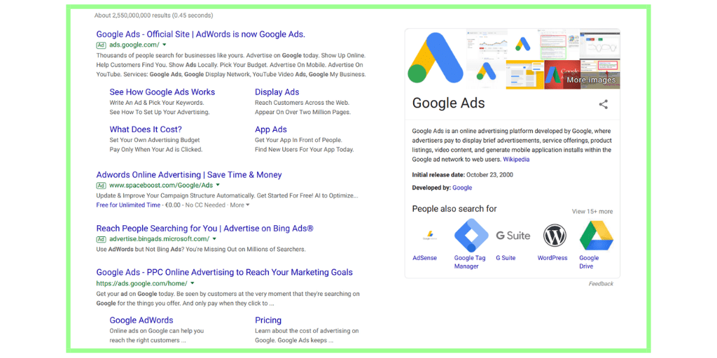 online advertising Google ads